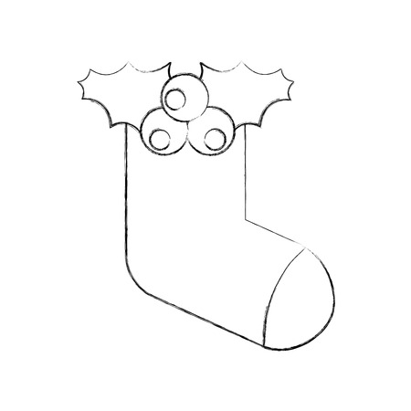 christmas sock gift decoration design vector illustration Ilustração