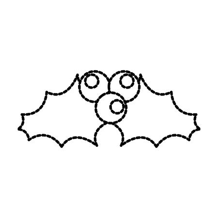 christmas leaf with holly berry decoration celebration icon Illustration