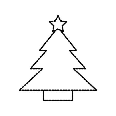 tree pine star decoration cartoon season vector illustration