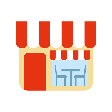 restaurant exterior window door chair table vector illustration Ilustração