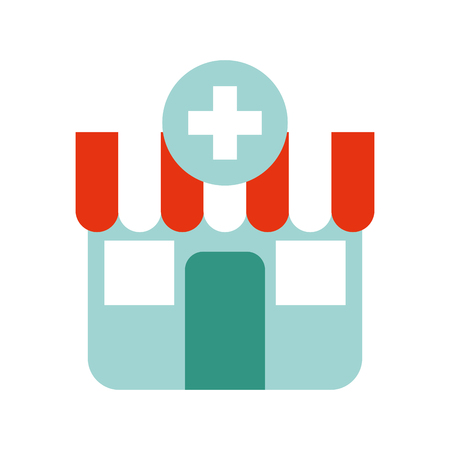 building exterior pharmacy cross medical vector illustration