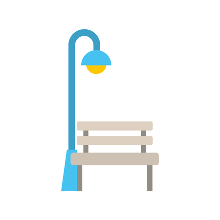 bench and stree lamp post light bulb decoration vector illustration Illustration
