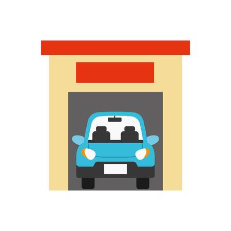 A car inside garage icon image vector illustration