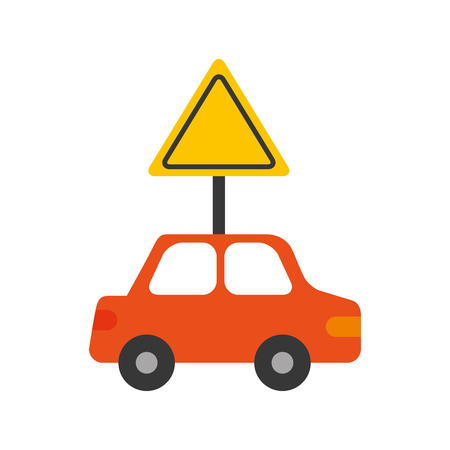 city background: car vehicle with traffic signal transport information vector illustration
