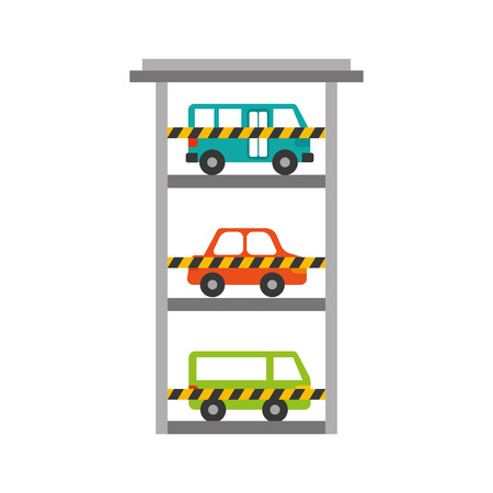 parking building car bus van vehicle commercial vector illustration