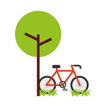 ツリー自転車天然葉公園植物ベクターイラスト  イラスト・ベクター素材