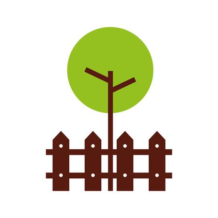 木のフェンス木製天然葉公園植物ベクターイラスト