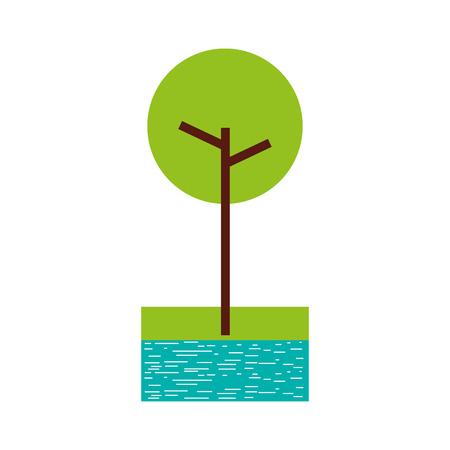 川と草の自然の葉公園植物のイラストと木。