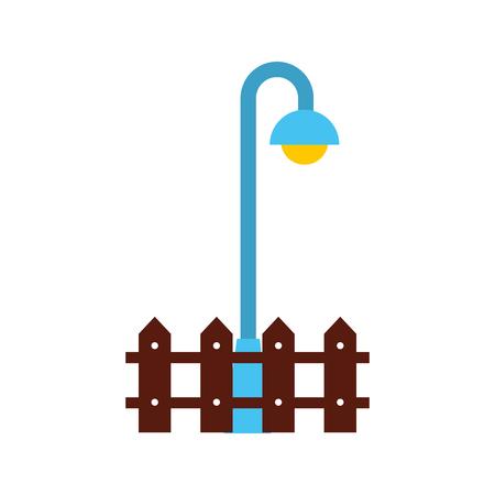 straat lamp licht houten hek park element vector illustratie