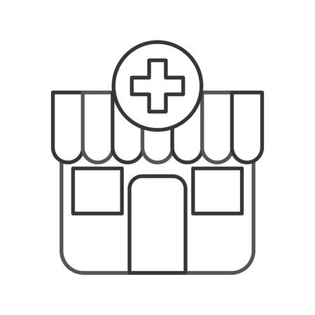 Gebäude außen Apotheke Cross medizinische Vektor-Illustration Standard-Bild - 85849205