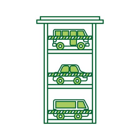 parkeren gebouw auto bus van voertuig commerciële vector illustratie Vector Illustratie