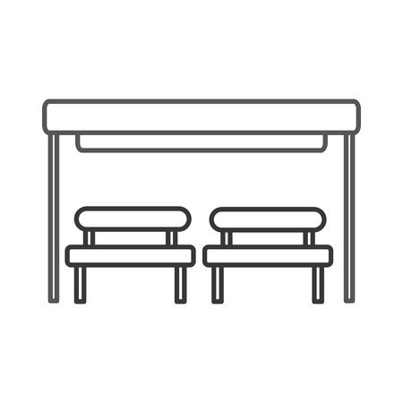대기 벤치 의자와 버스 정류장입니다. 스톡 콘텐츠 - 85694333