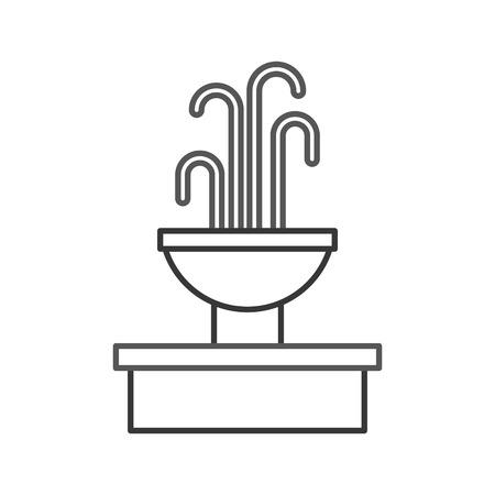 Fountain with water splash element. Illustration
