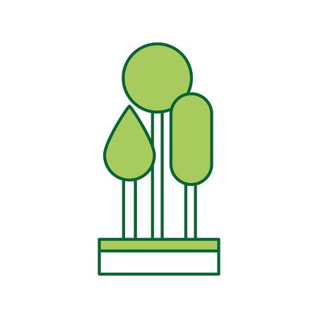 3つの木の自然の葉公園植物の森。  イラスト・ベクター素材