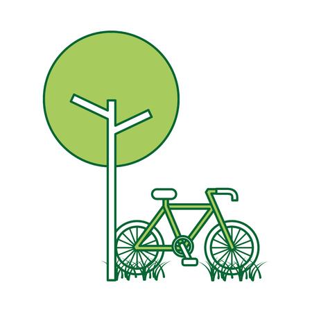 ツリー自転車天然葉公園植物。  イラスト・ベクター素材