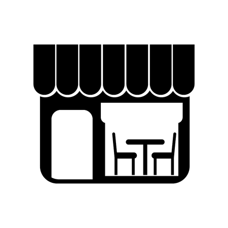 A restaurant exterior window door chair table vector illustration Ilustração
