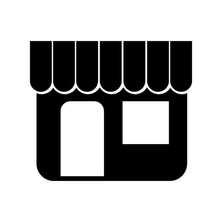 店舗市場のエクステリアショッピングコンセプトを黒シルエットベクトルイラストで