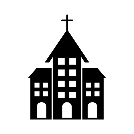 A church building for christian religion architecture in black silhouette vector illustration Illusztráció