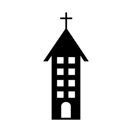 A church building christian religion architecture in a black silhouette vector illustration