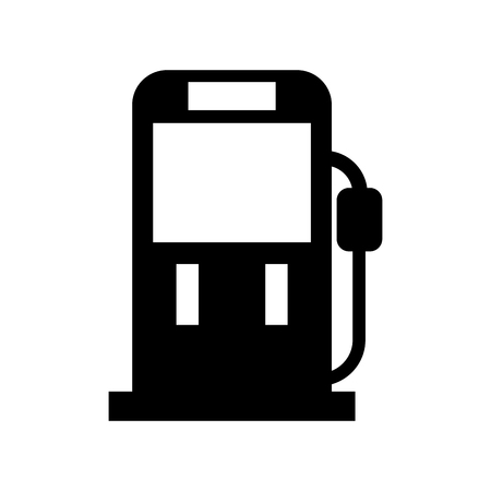 Black silhouette gasoline fuel pump filling station equipment icon vector illustration Banco de Imagens - 85713275