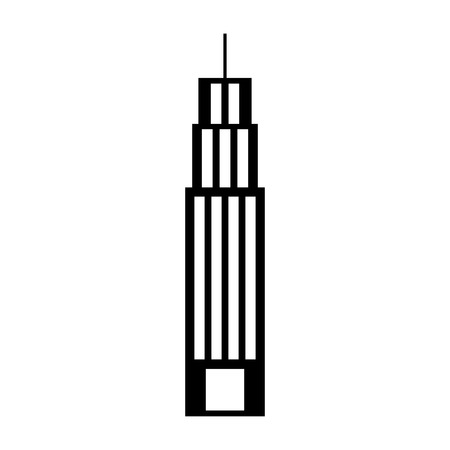 Black silhouette building tower skyscraper commercial business vector illustration Ilustração