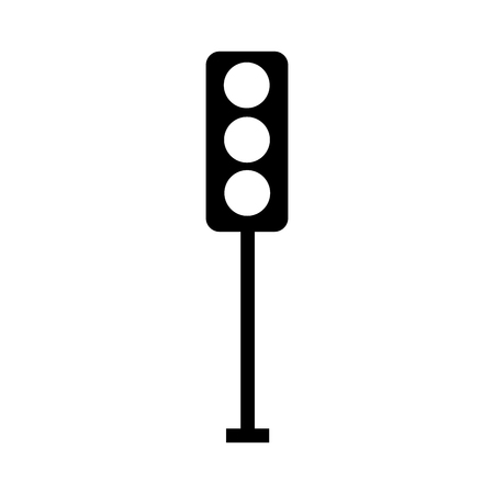 Black silhouette traffic lights electric equipment control vector illustration Çizim