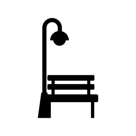 Black silhouette bench and street lamp post light bulb decoration vector illustration