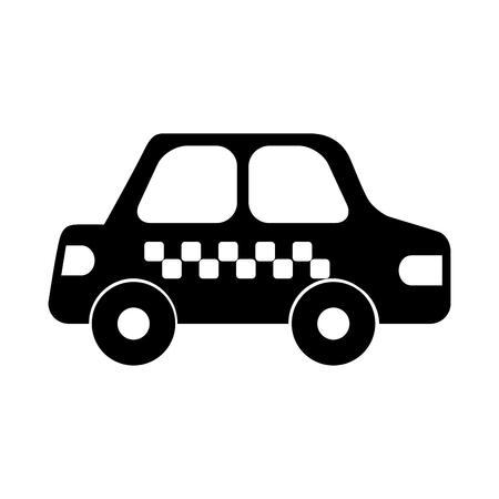 Black silhouette cab car transport public service city vehicle design vector illustration