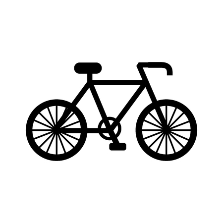 Black silhouette bicycle transport ecology vehicle traditional vector illustration
