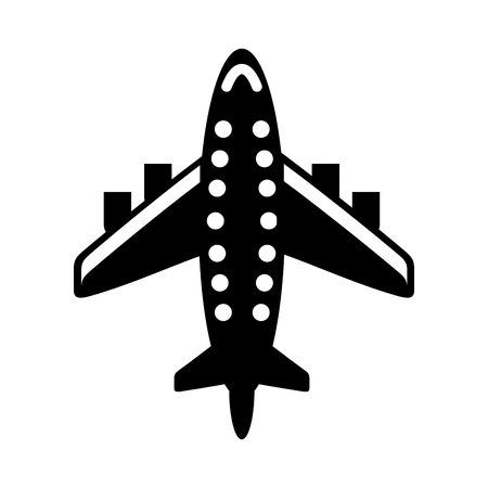 Black silhouette airplane transport for commercial or passenger business sector, a vector illustration