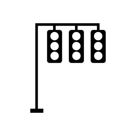 검은 실루엣 신호등 전기 장비 제어 벡터 일러스트 레이션