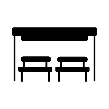 Black silhouette illustration of the bus stop with bench or waiting chair vector illustration