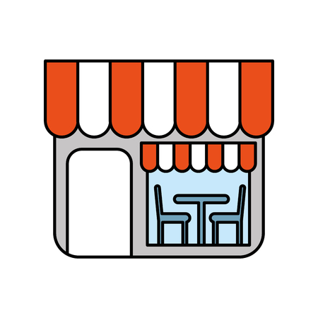 front desk: Restaurant exterior window door chair table illustration. Illustration