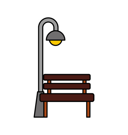 Bench and street lamp post light bulb decoration illustration. Иллюстрация