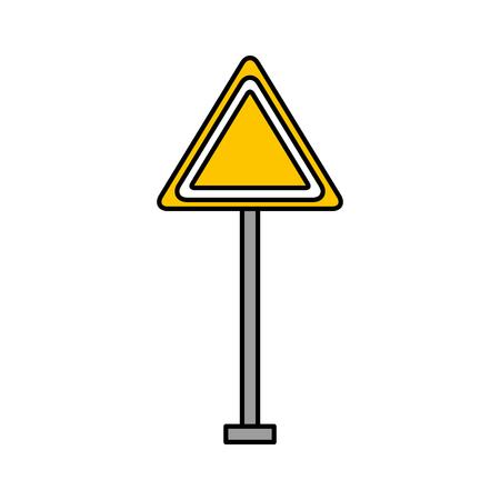 Una precaución de la señal de tráfico precaución en línea ilustración vectorial de atención . Foto de archivo - 85711865