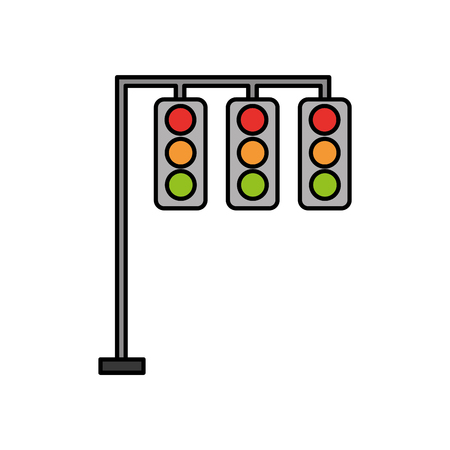 A traffic lights electric equipment control vector illustration. Иллюстрация