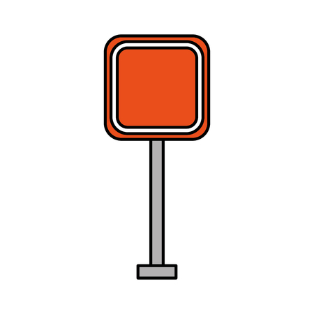 square signal traffic caution way street vector illustration