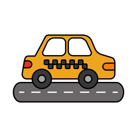 car sedan on street vehicle urban side view vector illustration