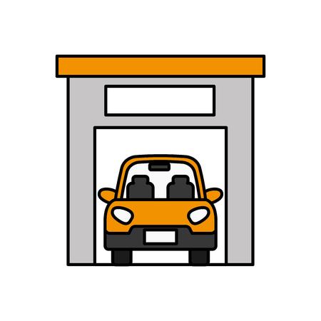 車内部ガレージアイコン画像ベクトルイラスト  イラスト・ベクター素材