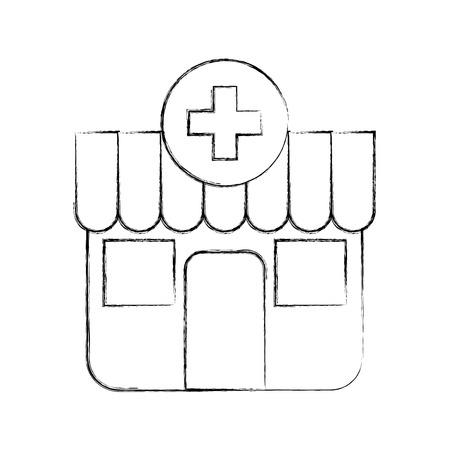 Gebäude außen Apotheke Cross medizinische Vektor-Illustration Standard-Bild - 85696548