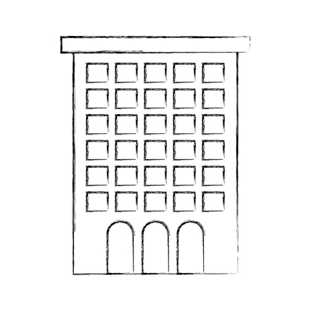 building facade windows door high structure vector illustration Illustration