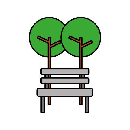 Bomen met bank park natuurlijke scène. Stock Illustratie