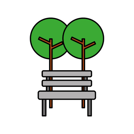 Trees with bench park natural scene. Illustration