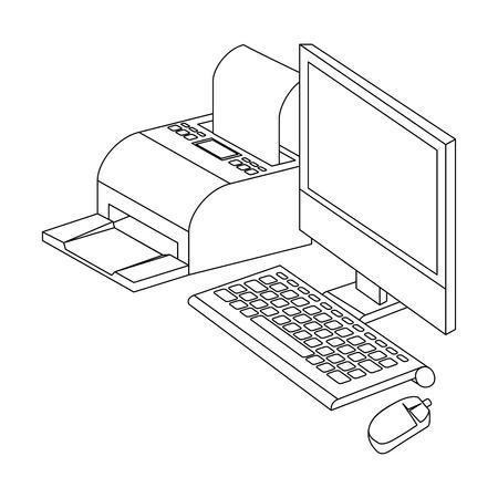 computer desktop with printer vector illustration design
