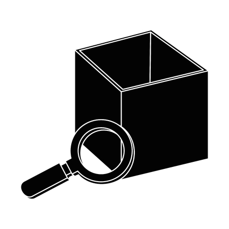 magnifying glass with box vector illustration design Çizim