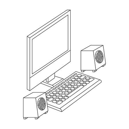 スピーカーを備えたコンピュータデスクトップベクトルイラストデザイン