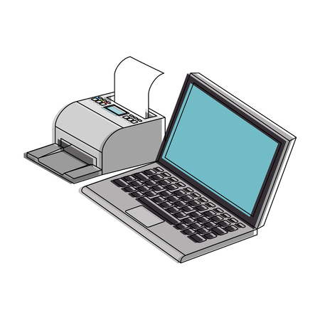 monitor: laptop computer with printer vector illustration design