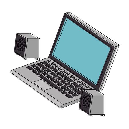 スピーカーを備えたラップトップコンピュータベクトルイラストデザイン
