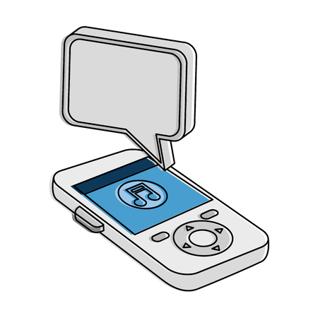 mobile device: music player with speech bubble vector illustration design