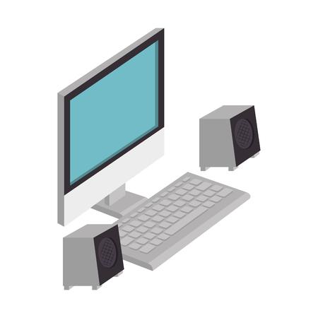 コンピュータデスクトップ分離アイコンベクトルイラストデザイン